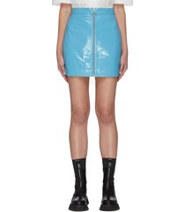 lizzie' front zip patent leather mini skirt