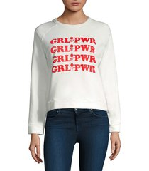 rebecca minkoff women's grl pwr sweatshirt - cream - size xs