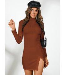 yoins basics cuello alto dividido diseño mini vestido