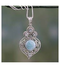 larimar and blue topaz pendant necklace, 'delhi hope' (india)