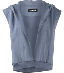 styland sleeveless open front hoodie - blue