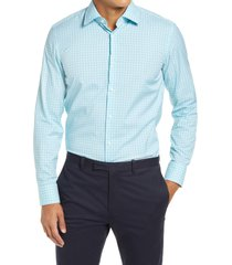 men's boss jango slim fit stripe dress shirt, size 17.5 - blue/green