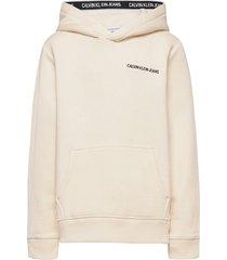 logo tape hoodie hoodie trui crème calvin klein