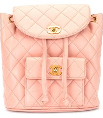 chanel pre-owned diamond quilt drawstring backpack - pink