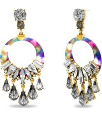 catherine malandrino rhinestone drop rainbow hoop earring in yellow gold-tone alloy