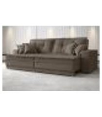 sofá palermo 2,80m retrátil e reclinável velosuede marrom - netsofas