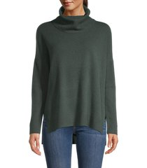 minnie rose women's audra cowl-neck cashmere-blend sweater - army green - size m/l