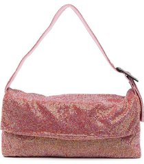 benedetta bruzziches vitty grande crystal-mesh shoulder bag - pink