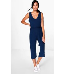 basic ribbed culotte jumpsuit, navy