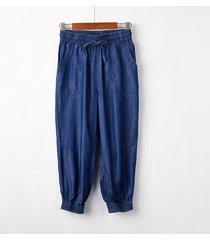 dark blue denim crop pants drawstring elastic waisted crop harem pants trousers