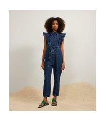 macacão longo jeans com babados nos ombros e cinto faixa | a-collection | azul | m
