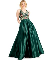 blondie nites juniors' embroidered applique gown with pockets