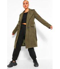 lange nepwollen jas met dubbele knopen en ceintuur, khaki