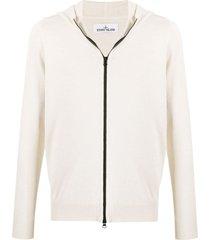 stone island logo-jacquard zip-through hooded sweater - neutrals