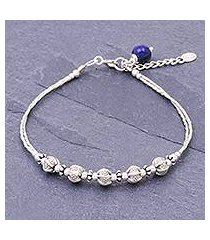 sterling silver and lapis lazuli beaded bracelet, 'silvery shadows' (thailand)