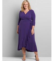 lane bryant women's 3/4 sleeve matte jersey wrap dress 18/20 gypsy purple