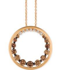 "le vian chocolate diamond & vanilla diamond circle 18"" pendant necklace (3/4 ct. t.w.) in 14k rose gold"