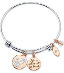 """unwritten """"life is better at the beach"""" wave adjustable bangle bracelet in stainless steel and rose gold two-tone fine silver plated charms"""