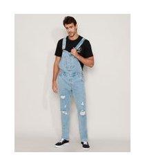 macacão jeans masculino destroyed azul claro