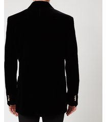 balmain men's velvet double breasted badge blazer - black - 50/m