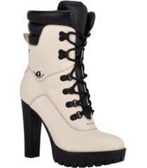 guess women's tessey high heel combat booties women's shoes
