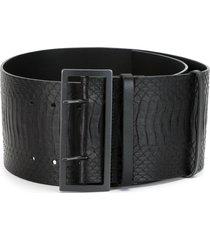 haider ackermann wide snakeskin embossed belt - black