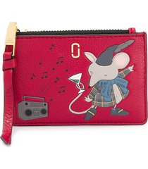 marc jacobs the softshot mouse top zip multi wallet - red