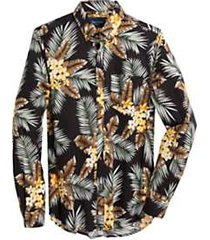 paisley & gray slim fit sport shirt black yellow & green tropical pattern