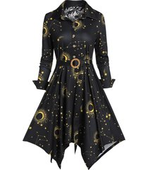 button sun and moon print belt fit and flare irregular dress