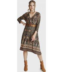 vestido camant manga larga terracota lorenzo di pontti