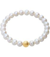 bracciale perle d'acqua dolce aa bianche 7x7,5 mm e 1 boule in oro giallo per donna