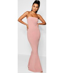 bandeau fitted fishtail maxi bridesmaid dress, rose