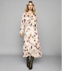 reiss aster - floral printed midi dress in cream, womens, size 12
