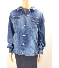 guess 90s spellout denim jacket medium wash tint embossing womens large nwt x511