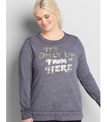 lane bryant women's it's only up from here graphic sweatshirt 30/32 burnout navy