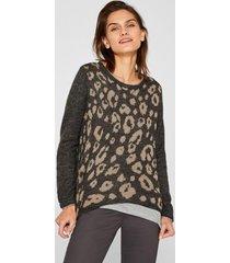 sweater con diseño de leopardo gris esprit