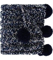 0711 bradford pompom detailed scarf - blue