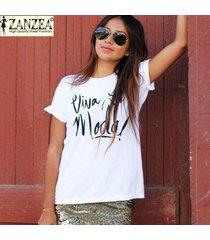 zanzea verano de las mujeres blusas floja ocasional de las letras o de algodón de cuello camiseta de manga corta remata las blusas femeninas camisas tamaño más simples (blanco) -blanco