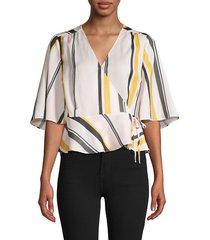 ava & aiden women's stripe kimono wrap top - pink multi - size xs