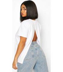 plus open split back t-shirt, white