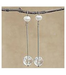 quartz and cultured pearl dangle earrings, 'glistening transparency' (brazil)