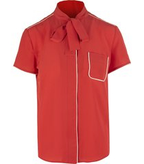 coral red crepe envers satin shirt