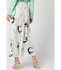 rixo women's kelly skirt - sea life dusk mint cream - uk 12