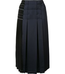 cédric charlier panelled pleated skirt - black