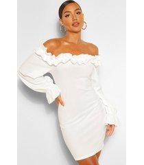 bodycon mini-jurk met geplooid detail en ontblote schouders, wit