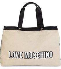 love moschino women's logo tote - white black