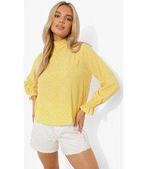 doorschijnende blouse met stippen en hoge hals, yellow