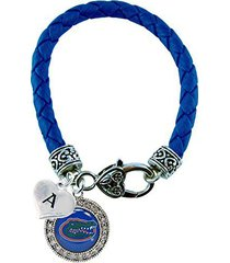 custom florida gators crystal blue leather bracelet choose initial charm uf 26 l