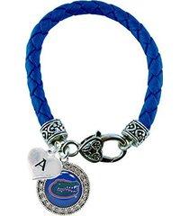 custom florida gators crystal blue leather bracelet choose initial charm uf 26 l