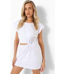 gedraaide t-shirtjurk met schouderpads en uitsnijding, white
